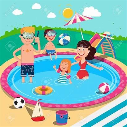 Swimming Pool Clipart Happy Vector Children Parents