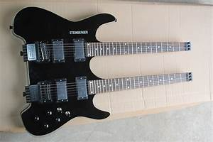 2016 Popular Double Neck Black Electric Guitar Without Head Stock And Can Be Changed As Your