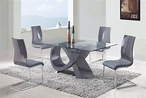 salle a manger moderne table verre chaises couleur grise With table en verre moderne