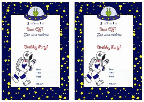 space  printable birthday party invitations birthday