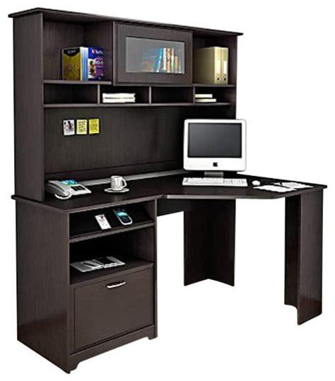 corner computer desk with hutch bush cabot corner computer desk with hutch in espresso oak