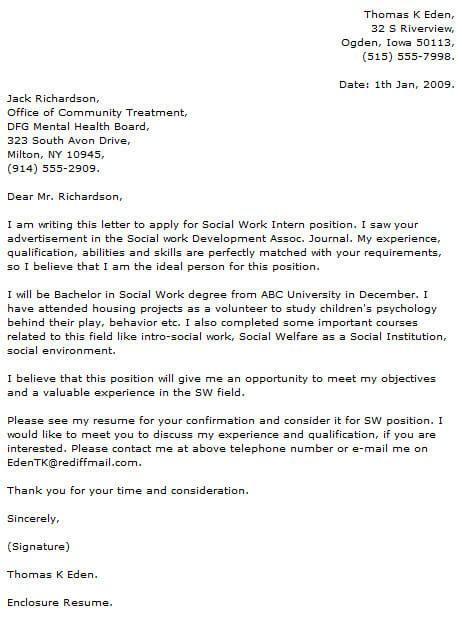 Sample Cover Letter For Social Worker Work Letters