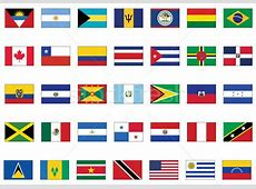 Vector flag set of all American countries vector
