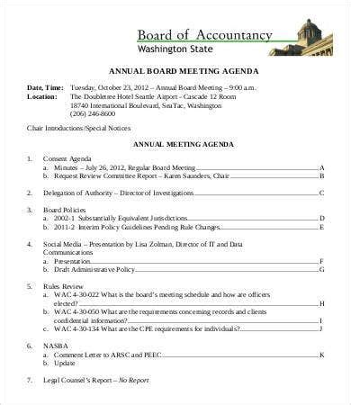 board agenda templates  sample  format
