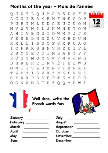 months of the year in french word search by sfy773 teaching resources tes