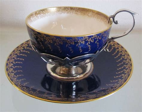 1908 Antique Mintons Tea Cup & Saucer With Sterling Silver