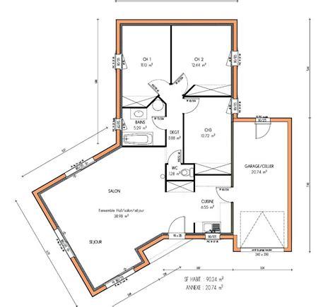 maison 2 chambres architectures plans de maisons plain pied plan de la