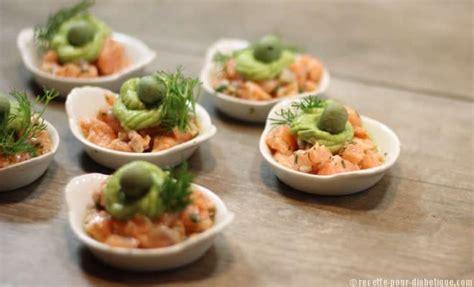 recette de cuisine saumon tartare de saumon et avocat en apéritif