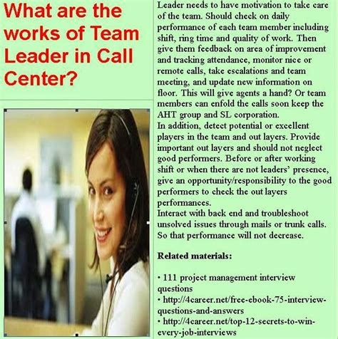 Customer Service Team Leader Questions by Related Materials 51 Call Center Questions