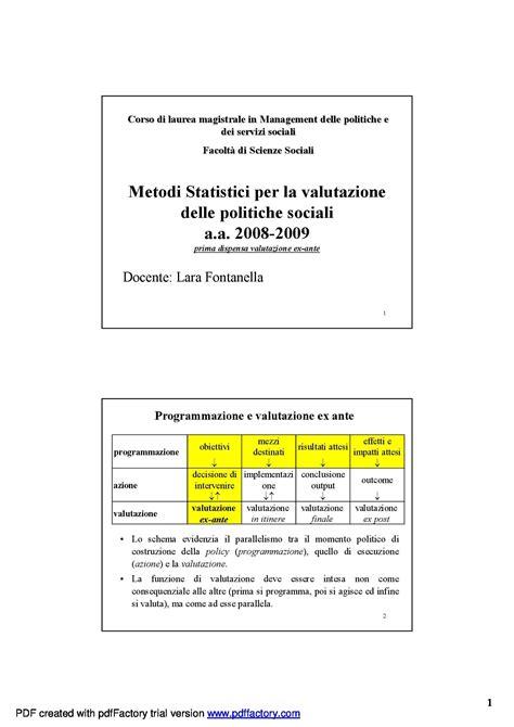statistica dispense dispensa di statistica metodi statistici per la