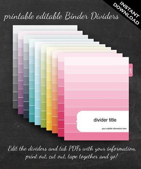 binder dividers printable editable rainbow ombre theme