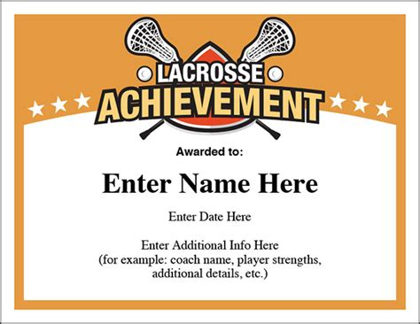 Country Feels Template by Lacrosse Award Certificates Templates New For Boys And Girls