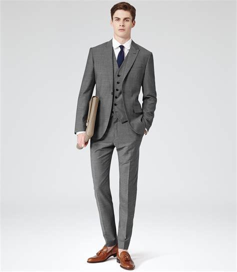 lyst reiss youngs  button peak lapel suit  gray  men