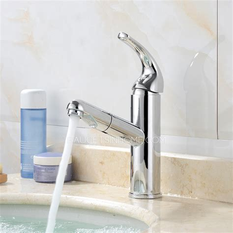 Modern Pull Out Bathroom Faucet Single Handle One Hole