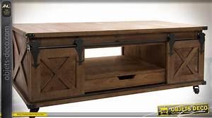 Meuble Tv Metal Bois : meuble tv de style rustique bois et m tal avec portes coulissantes ~ Teatrodelosmanantiales.com Idées de Décoration