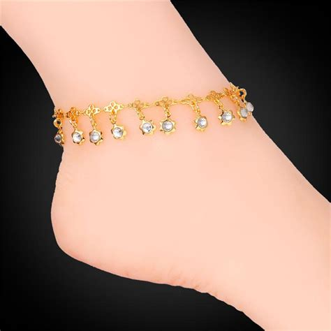 women ankle chains  real goldplatinum plated sandal