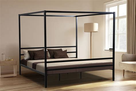 Oliver Smith® Heavy Duty Black Iron Metal Canopy Bed
