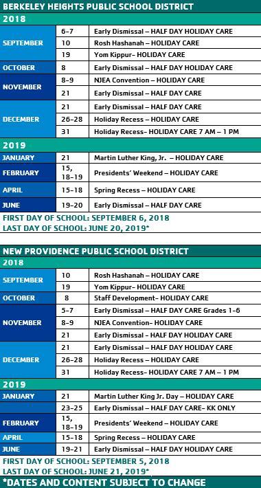 school calendar summit area ymca