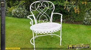 Fauteuil De Jardin Blanc : fauteuil de jardin en m tal et fer forg coloris blanc antique ~ Teatrodelosmanantiales.com Idées de Décoration