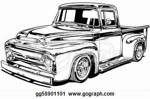 truck clipart classic truck pencil and in color truck With 1955 ford f100 red