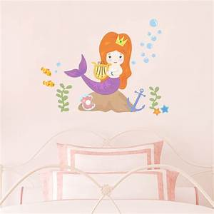 cute mermaid printed wall decal With best decor mermaid decals for walls