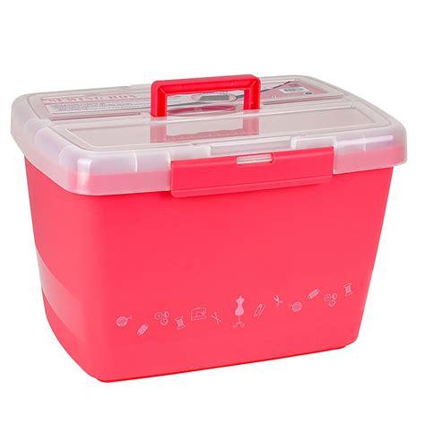 Große stabile Nähbox - Nähkoffer - Kunststoffbox (pink
