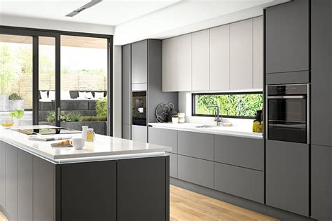 Eton Matt Carbon True Handleless Kitchen  Designer