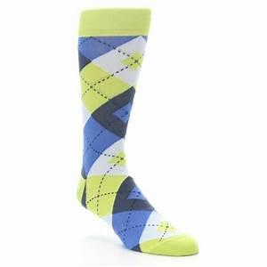 Lime Green Blues Argyle Men's Dress Socks Statement Sockwear