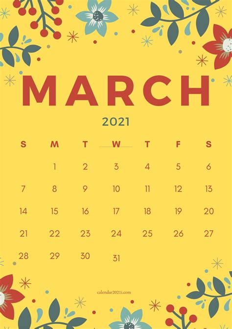 Floral March 2021 Calendar Printable Free Download