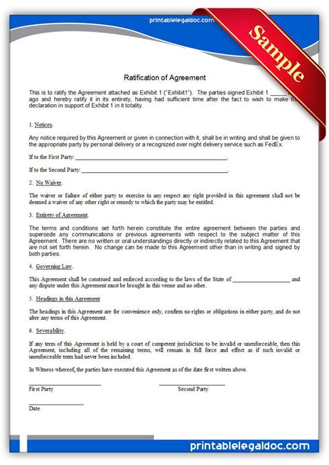 printable ratification  agreement form generic
