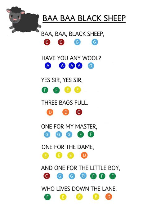 baa baa black sheep easy piano  sheet  toddlers