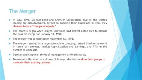And Chrysler Merger by Daimler Chrysler A Cultural Mismatch