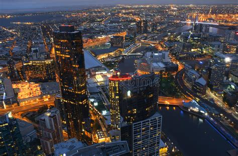 Aerial View Of Melbourne CBD City At Night Australia Stock ...