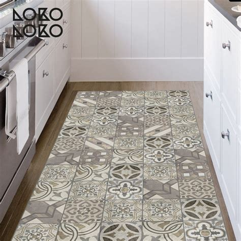 Vinyl for furniture of hydraulic floor tiles of retro style