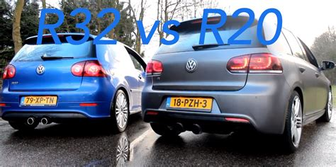 siege golf 1 gti vw golf r32 vs r20 milltex exhaust battle vw gti mkvi