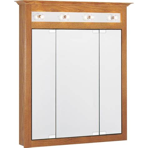 medicine cabinets with mirrors at lowes shop project source 31 75 in x 36 in rectangle surface oak