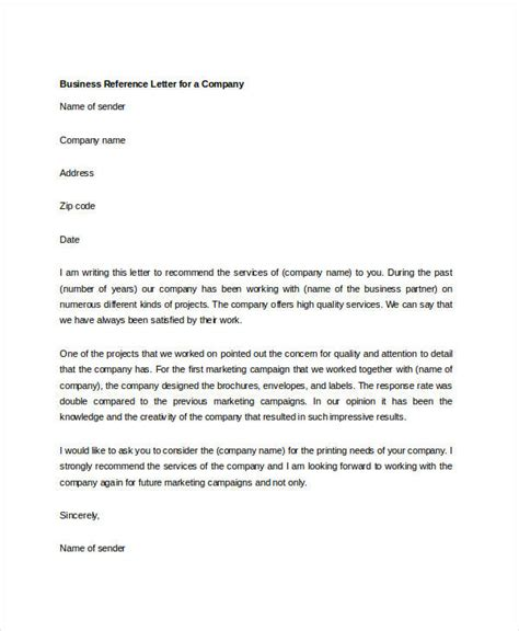 Recommendation Letter For A Company Template by 10 Sle Business Reference Letter Templates Pdf Doc