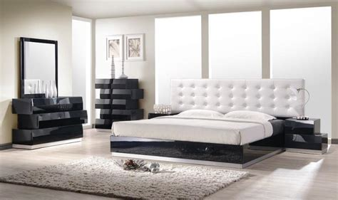 black lacquer high gloss platform queen bedroom set pcs
