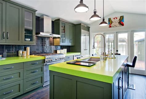 green countertop kitchen invigorating ways to decorate with green kitchen cabinets 1363