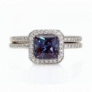 Alexandrite Engagement Ring Diamond Wedding Band Aisle