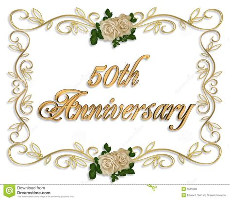 Free 50th Wedding Anniversary Invitation Borders Unique