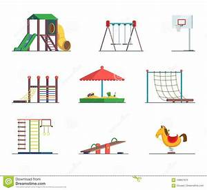 Playground Equipment  Fun Area For Kids  Vector Set Stock