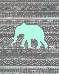 8x10 Print: Tribal Mint Elephant   patterns   Pinterest ...