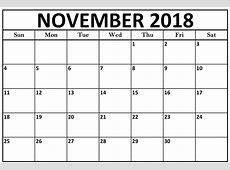 November 2018 Calendar Word Template – Business Calendar