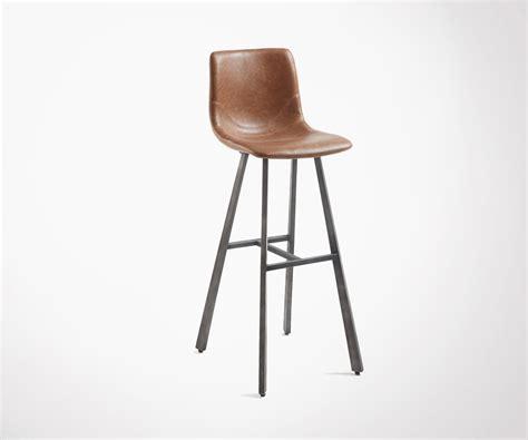 tabouret bar industriel m 233 tal et simili cuir vieilli look brut loft