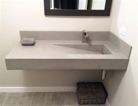 Bathroom Sinks : Wall Hung Concrete Bathroom Sink With A Custom Ramp Sink