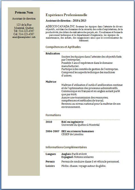 Exemples De Cv Professionnel by Exemple Cv Professionnel Gratuit Cv Anonyme