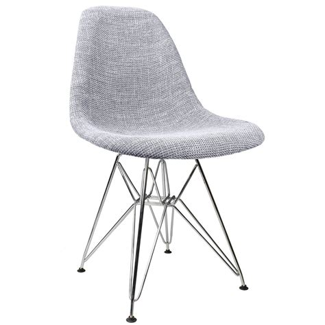 gray woven fabric upholstered mid century eames style