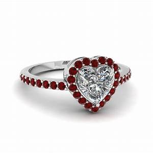 Heart Shaped Halo Ring With Ruby In 14K White Gold ...