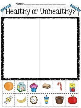 healthy habits for preschoolers healthy vs unhealthy sort kindergarten and 469